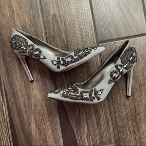 Sam Edelman Embellished Gray Suede Heels 7.5